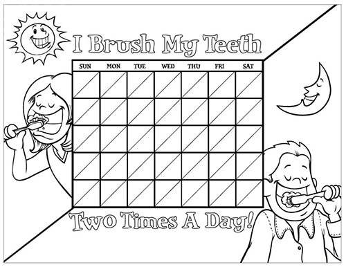 Black and White Brushing Chart for Children